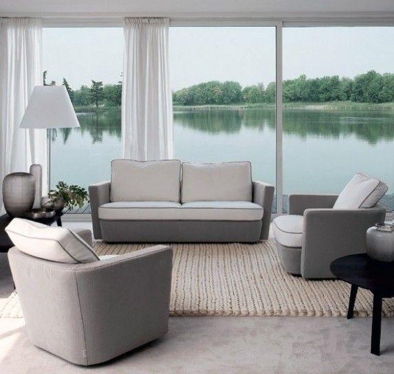 Tessuti bianchi e grigi - Come abbinare divano e poltrona bicolore.