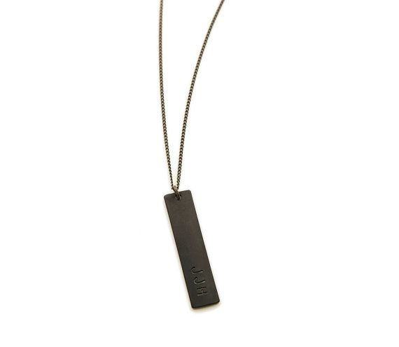 BLACK BAR Necklace  //  Personalized Mens Necklace // Thick Black Tag on Your Choice of Chain  //  Simple Unisex Layering Chain on Etsy, $24.00