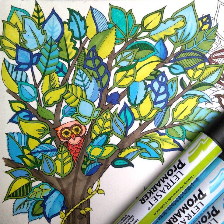 #színező  #johannabasford #buvoserdo #promaker #filctoll #színes #colorful #fa #tree #bagoly