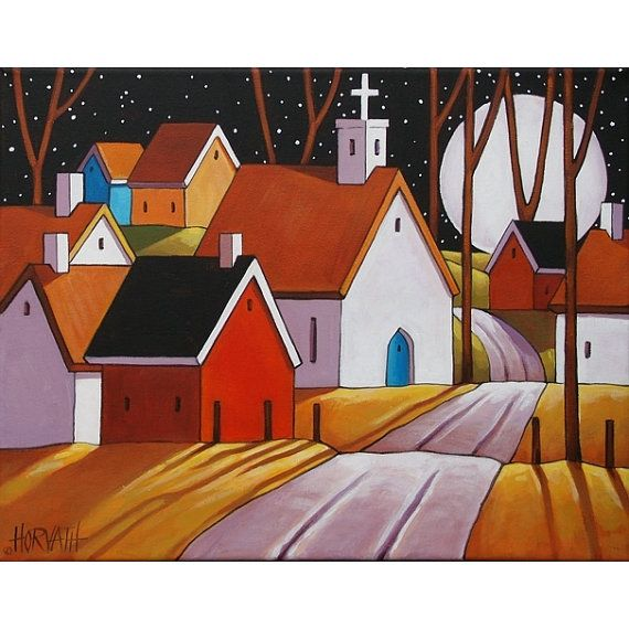 "Fine Art Print by Cathy Horvath 8 1/2""x11"" Modern Folk Art Village Giclee Full Moon Night Town Road Landscape Archival Artwork Reproduction"