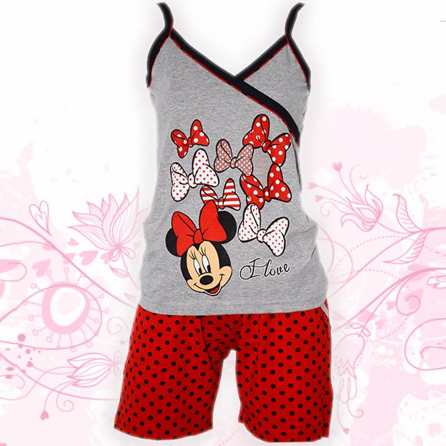 Hello Minnie!  Woman's Cotton Summer Pajamas -crossover Top and red polka dots shorts