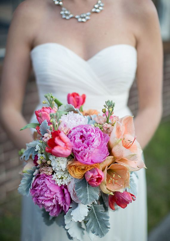 Purple, pink and peach lambs ear bouquet | photo by  Izzy Hudgins Photography | 100 Layer Cake
