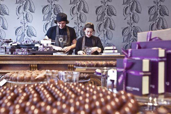 Inside Paul A Young's chocolate shop in Soho, London.