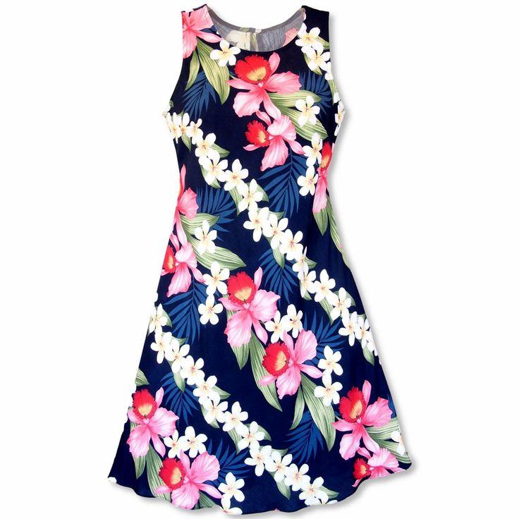 Orchid Play Blue Rhythm Hawaiian Dress  #hawaiian #madeinhawaii