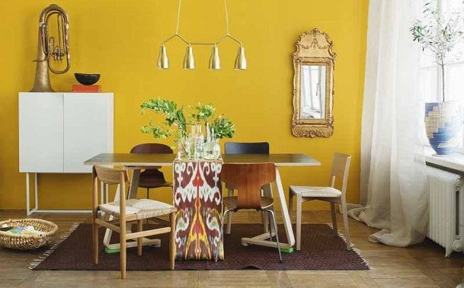 Mustard Yellow Accent Wall A Bit Bright Though Maybe Home Cottage Ideas Pinterest