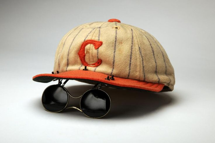 Super cool photo of old time baseball sunglasses.