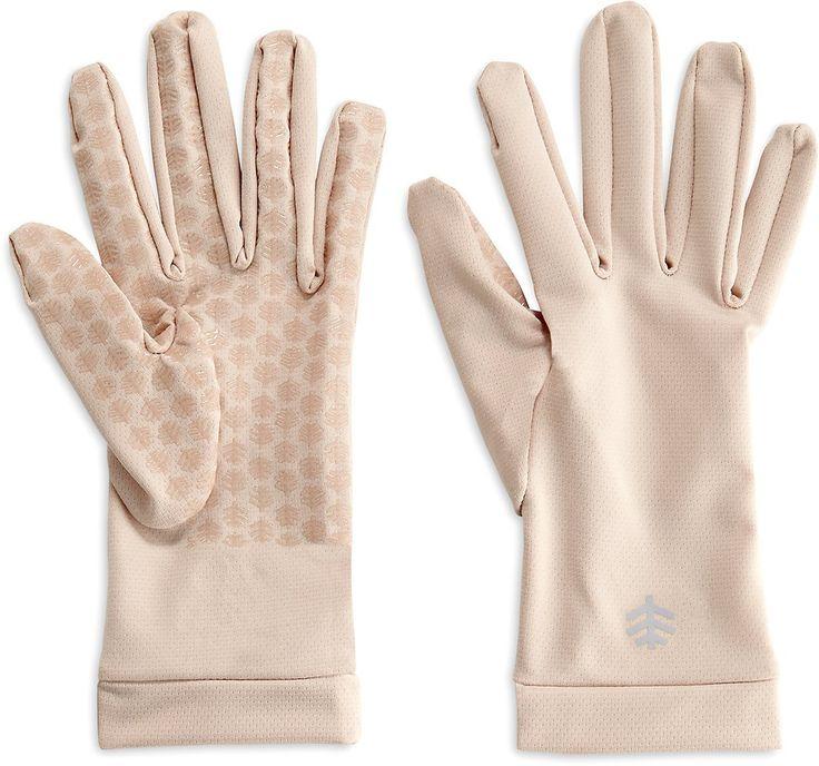 Coolibar UPF 50+ Unisex Sun Gloves - Sun Protective (Small- Beige)
