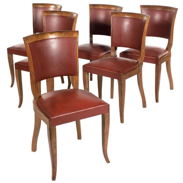 Set Of 6 French Art Deco Period Dining Chairs