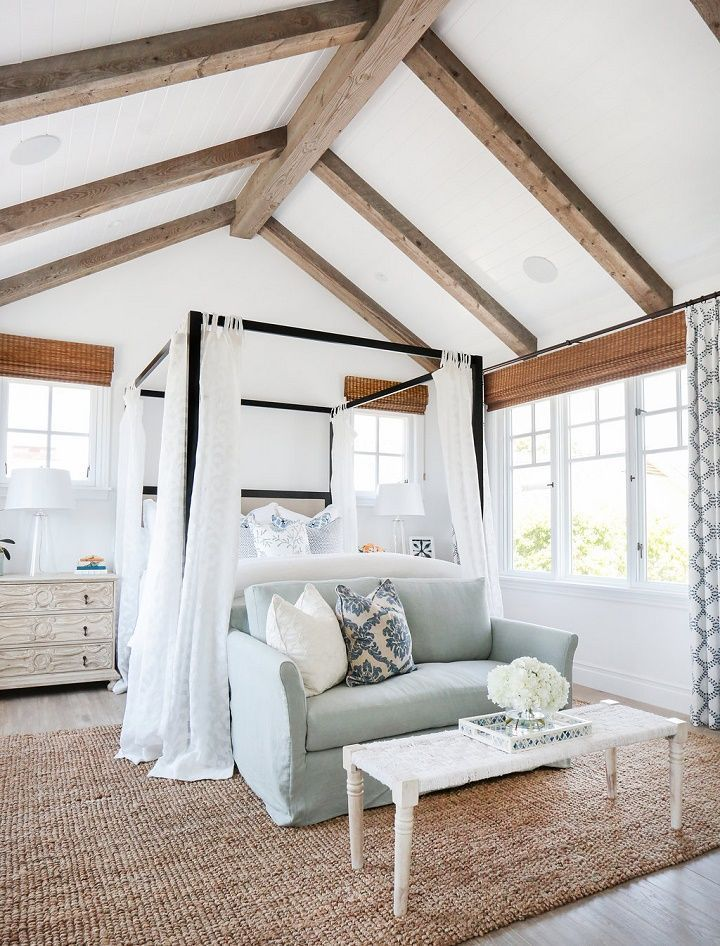 California Beach House Master Bedroom With Exposed Beams Vaulted Ceilings And Breezy Blue And White Decor Ca Coastal Master Bedroom Beach House Interior Home