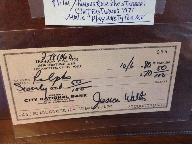 Jessica Walter Hollywood Actress Signed Check Los Angelos California Memorabilia   eBay