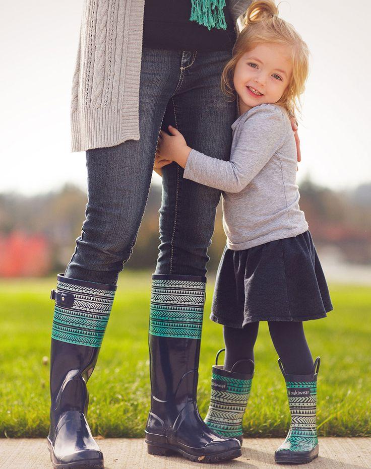 Mommy & Me Tribal Rain Boot Matching Set | Oakiwear - Rain Gear, Kids rain suits, kids waders, kids rain gear, and kids rain coats