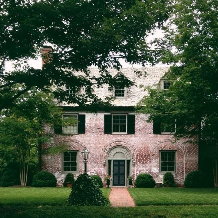 Whitewashed brick, slate roof, black shutters | Windsor Farms, Richmond, VA