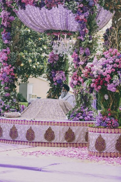 Floral roses decor , lavender floral decor , mandap decor , anand karaj purple decor