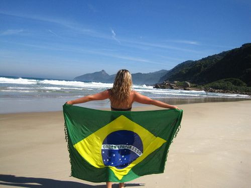 Brazil flag on the beach