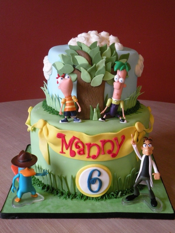 Phineas and Ferb Cake I am gonna attempt to make Aiden a cake like this for his Birthday. Wish me luck