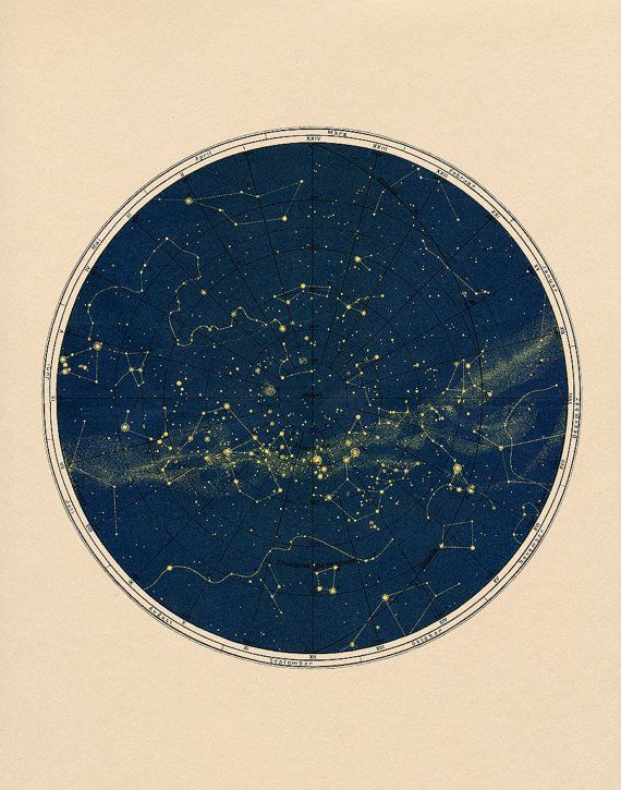 Black Constellation Chart Print in Circular by CapricornPress