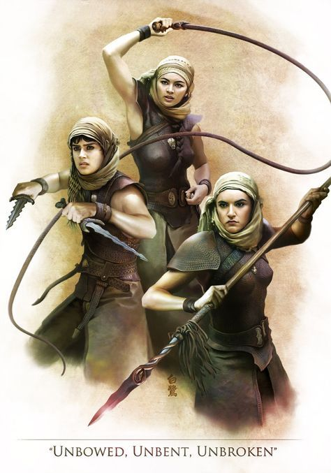 Jessica Henwick, Rosabell Laurenti Sellers, and Keisha Castle-Hughes as the Sand Snakes from Game of Thrones | Fanart: Sand Snakes by Shirasagi