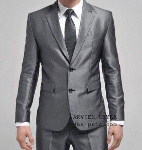 jual model jas pria modern warna silver glossy desain slimfit kancing 2