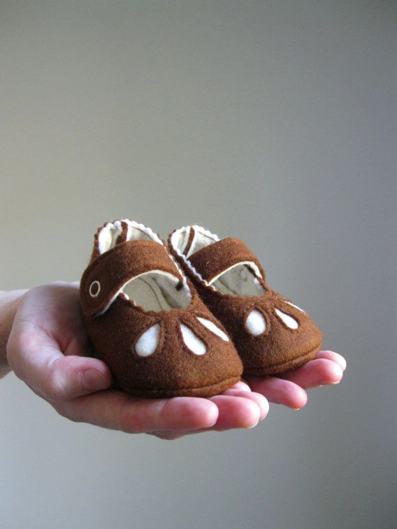 Choose Your Size - Brown with Cream Accents - Baby Girls Soft Soled Shoes - Infant House Shoes - Wool Felt Baby Girls Booties