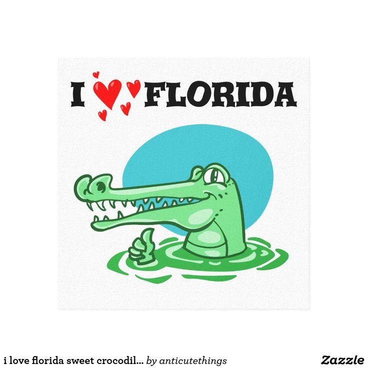 i love florida sweet crocodile funny cartoon #florida #cartoon #comics #drawing #design #funny #fun #alligator #green