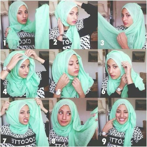 tutorial hijab in Minty Fresh