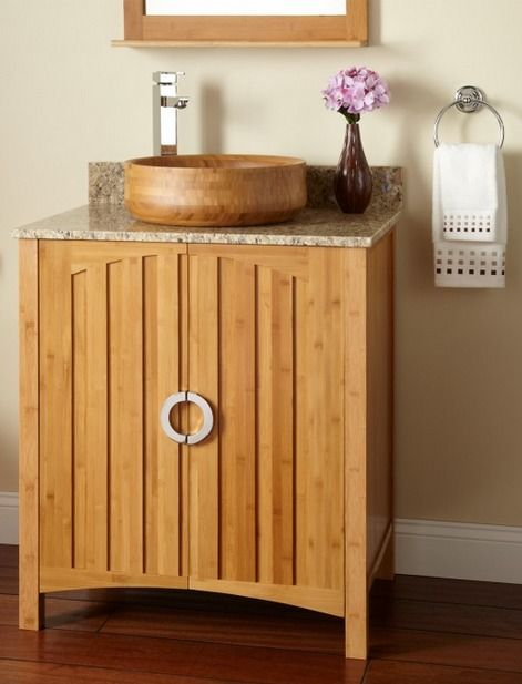 You ll love this contemporary bamboo vessel sink and for Modern bamboo bathroom vanity