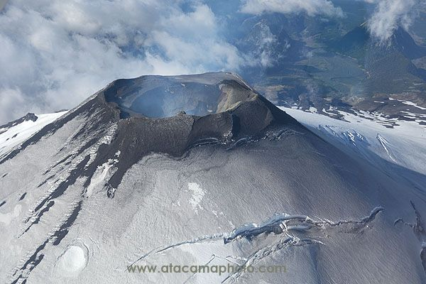 Lake District Aerial view into the crater of Villarica volcano - Image _E2X1127.jpg | ATACAMAPHOTO Nature and Wildlife Stock Photo Search