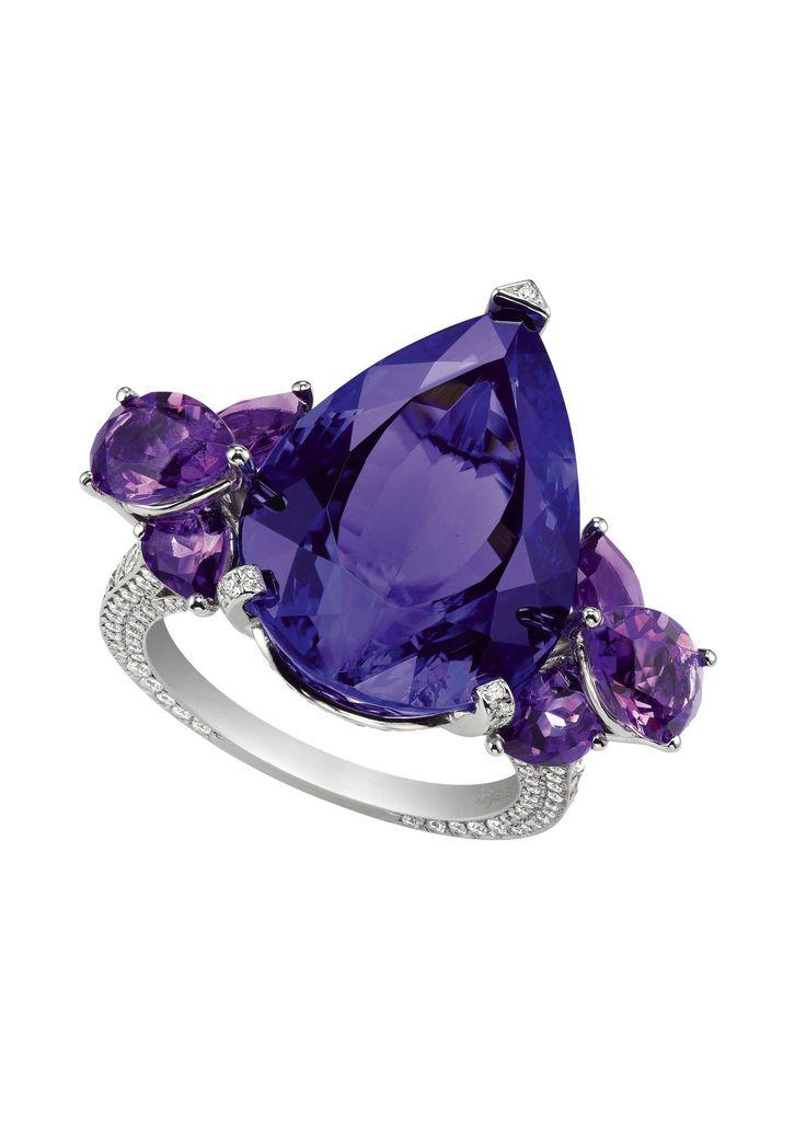 CHOPARD delicate tanzanite, diamond and amethyst ring