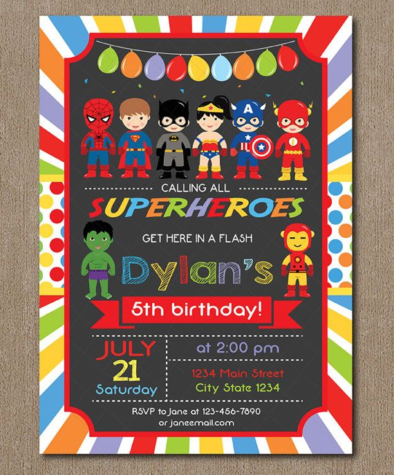 Superheroes Birthday Invitation Superhero by PixeleenDesigns