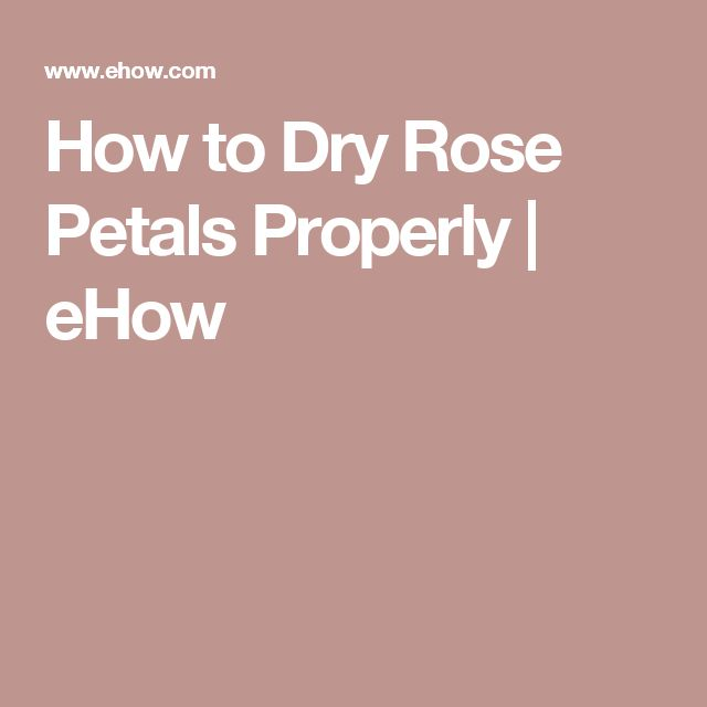How to Dry Rose Petals Properly | eHow
