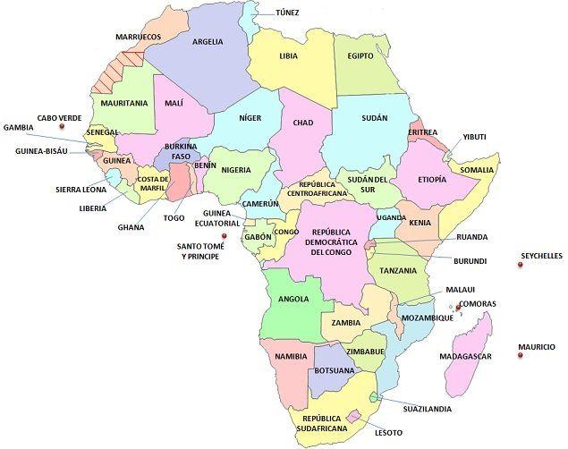 Mapa con los países de África