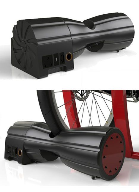 PowerPac, an energy storage device meant to be powered by a human on a stationary bicycle.