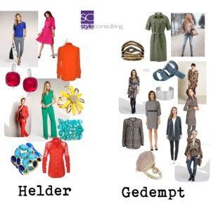 Het  verschil tussen heldere en gedempte kleuren. Differences between clear and soft colors.