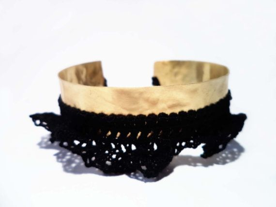 This bangle bracelet womens accessory is handmade from a sheet of brass, textured by hammering the metal and has also a fine black lace.  #bracelet #cuff #hammered #lace #black #gold_plated #jewelry #fashion #women  #handmade #algoelegante