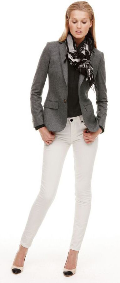 white jeans + blazer