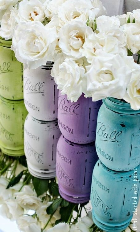 Painted mason jars - I want to do this for my dining room table!!