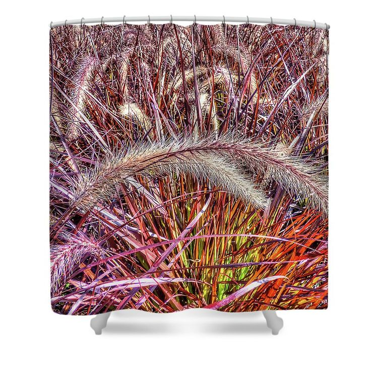 "Purple Fountain Grass Shower Curtain by Leslie Montgomery.  This shower curtain is made from 100% polyester fabric and includes 12 holes at the top of the curtain for simple hanging.  The total dimensions of the shower curtain are 71"" wide x 74"" tall."