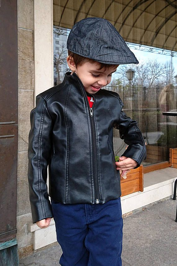 343cbb84 Black faux leather jacket for boys and toddlers. Eco leather short coat  with many shape cuts on front and back for better fit and stylish look.