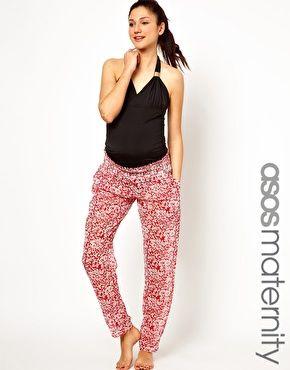 ASOS Maternity Beach Trouser In Scarf Print