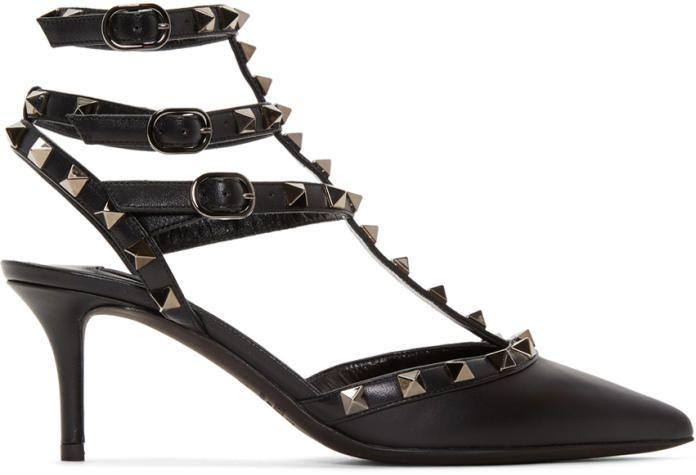 Valentino Black Garavani Rockstud Noir Cage Heels