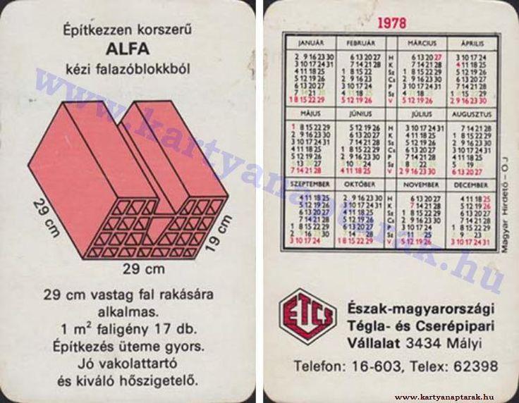 1978 - 1978_0926 - Régi magyar kártyanaptárak