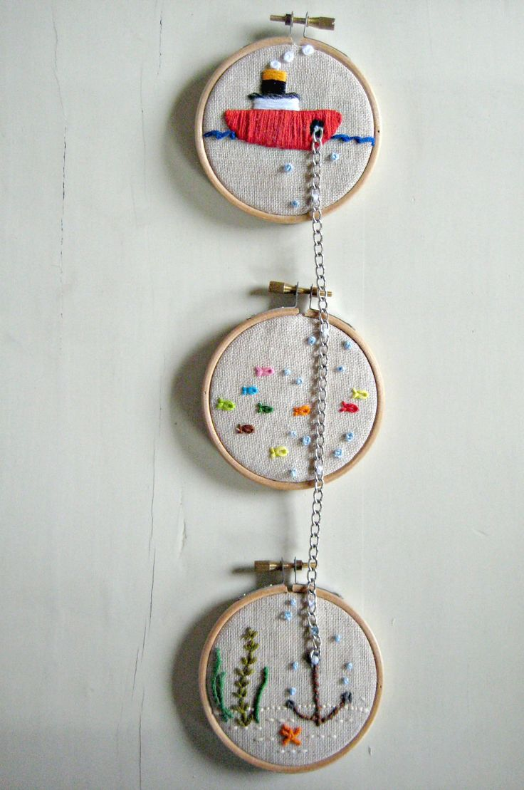 NAUTICAL WALL ART -Tugboat on the sea with anchor, a set of embroidered marine life hoop wall decoration