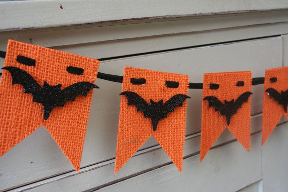 Burlap Halloween Banner - Bat Banner - Halloween Decor - Orange and Black - Bats on Etsy, $20.00