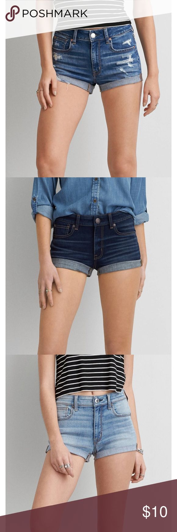 ISO✨American Eagle Hi-Rise Shortie I am ISO American eagle hi-rise shortie and the hi-rise festival shorts 🌸size 8 in the hi-rise shortie and size 6 in the festival, maybe 8! Please do not buy this listing! I Am NOT SELLING THESE! Does not have to be these exact shorts, just these two styles. I am not looking to spend a ton, which is why I'm looking on here and not American eagles website! Let me know what you have! Looking to buy several pairs American Eagle Outfitters Shorts Jean Shorts
