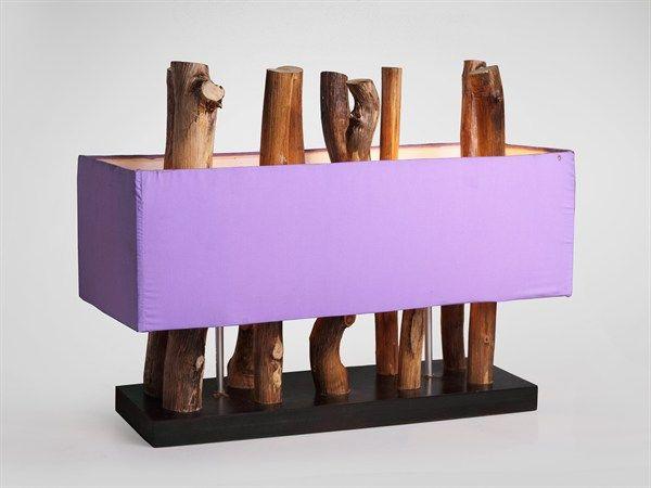 Lampada da tavolo fatta a mano, rami di legno verticali 2 punti luce paralume viola 40X55X25 CM  lamp vertical branches   #arredamento #casa #lampada #interiordesign #lamp #home #decor #interiorismo #lampara