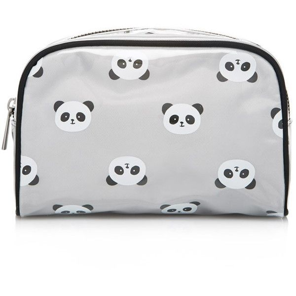 Forever 21 Panda Print Makeup Bag found on Polyvore featuring beauty products, beauty accessories, bags & cases, bags, wash bag, forever 21 makeup bag, cosmetic bag, travel dopp kit and clear cosmetic bag