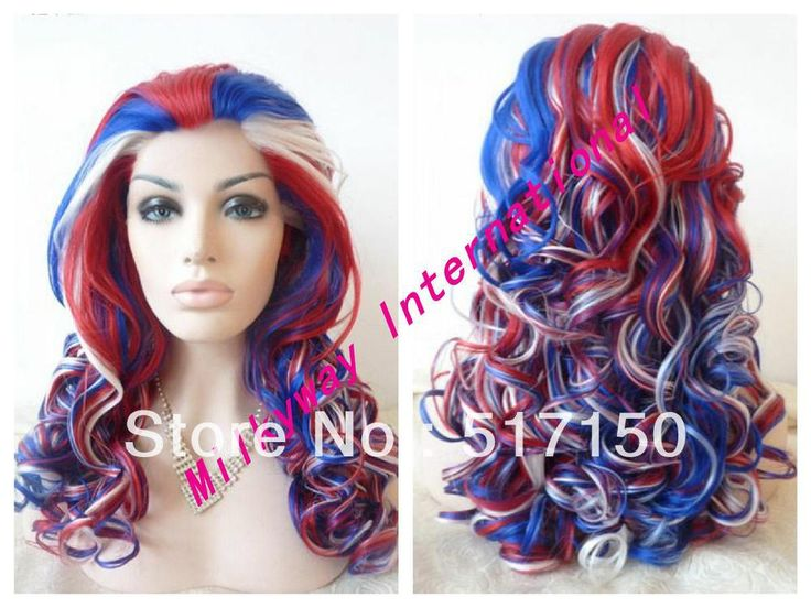Free shipping long uk flag blue red white  color 16/18/20/22/24/26 inch wavy synthetic lace front wig heat resistant-in Synthetic Wigs from Beauty & Health on Aliexpress.com