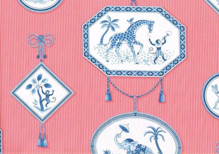 P Kaufmann Fabric Circus Animals Print Striped Cotton Drapery Upholstery  #PKaufmann