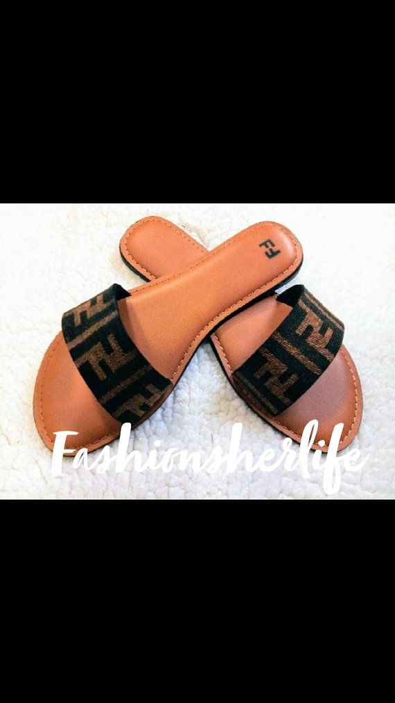 8f90f4cd860 Fendi inspired slides...Hot Summer sandals  Sale  .miniature food jewelry  Gift for mom gift for wife