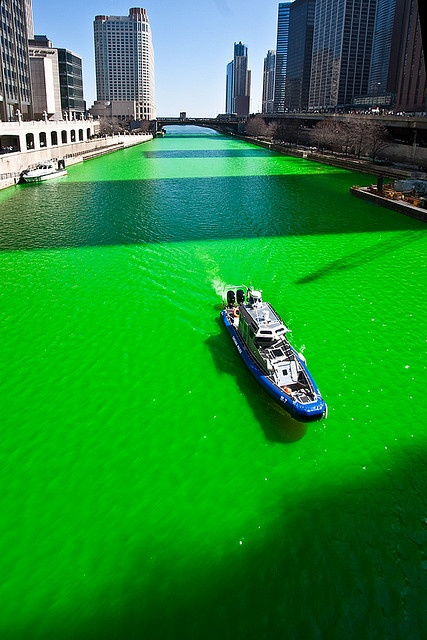 St Patty's Day in Chicago.   They actually do dye the Chicago River green, and the parade is so fun!